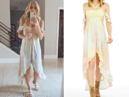 haley ferguson, the bachelor, tie dye off-the-shoulder dress