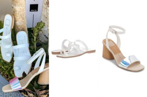 haley ferguson, the bachelor, white sandals, iridescent sandals