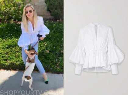 morgan stewart, E! news, white blouse
