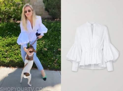 morgan stewart, E! news, white blouse
