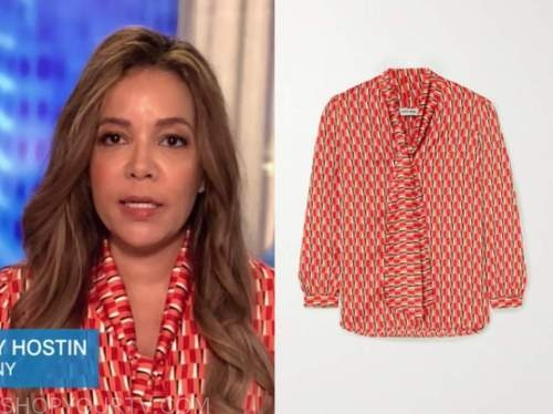 sunny hostin, the view, red and orange geometric tie neck blouse