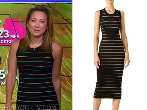 ginger zee, good morning america, black stripe knit dress