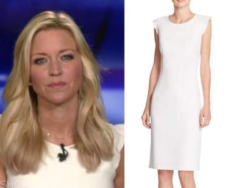 ainsley earhardt, fox and friends, white sheath dress