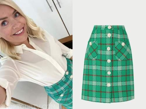 holly willoughby, this morning, green plaid skirt