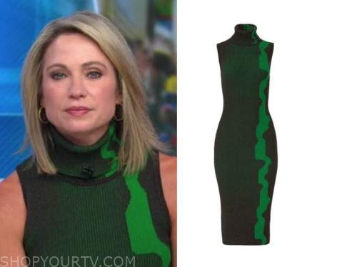 amy robach, green turtleneck sleeveless dress, good morning america
