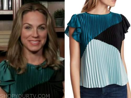 dr. nicole saphier, fox and friends, colorblock pleated top