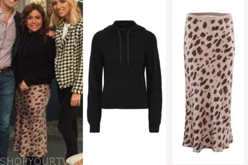 rachael ray, the rachael ray show, black hoodie, leopard skirt