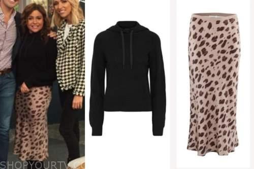 rachael ray, the rachael ray show, black hoodie, leopard skirt