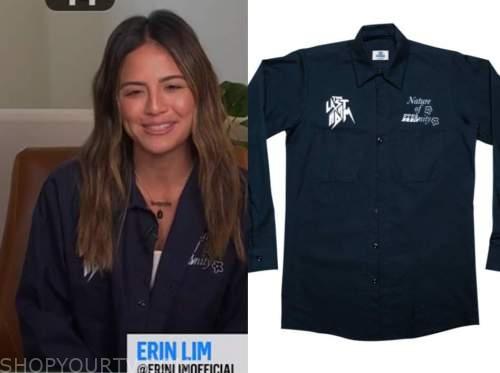 erin lim, e! news, daily pop, navy blue utility shirt