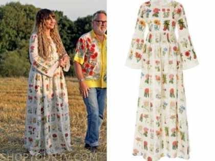NATASIA DEMETRIOU, the big flower fight, floral patchwork maxi dress