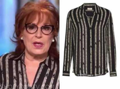 joy behar, the view, striped blouse
