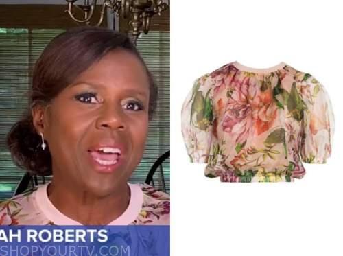 deborah roberts, good morning america, pink floral top