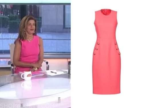hoda kotb, the today show, pink button sheath dress