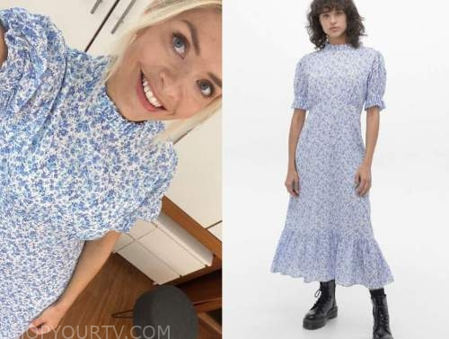this morning, holly willoughby, blue floral midi dress