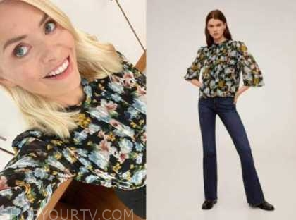 holly willoughby, this morning, black floral blouse