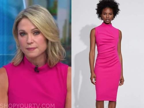 amy robach, good morning america, pink mock neck sleeveless dress