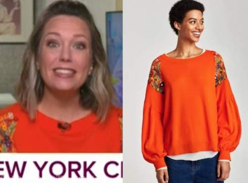 dylan dreyer, the today show, orange embroidered floral sweater