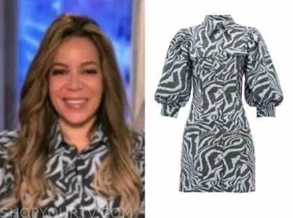 sunny hostin, the view, blue zebra dress