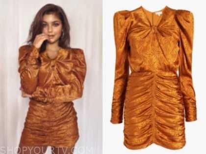 hannah ann sluss, the bachelor, copper ruched dress