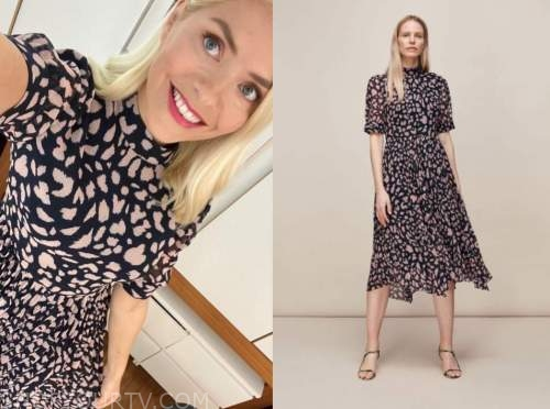 holly willoughby, this morning, cheetah print midi dress