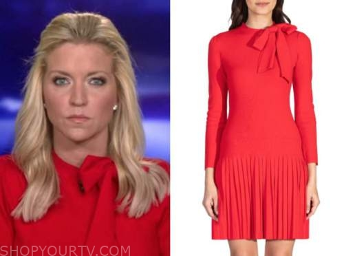 fox and friends, ainsley earhardt, red tie neck dress