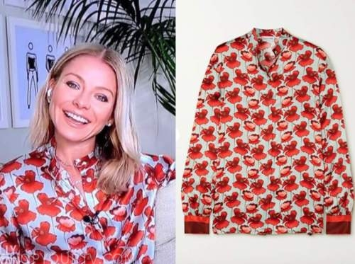 kelly ripa, live with kelly and ryan, red silk floral blouse
