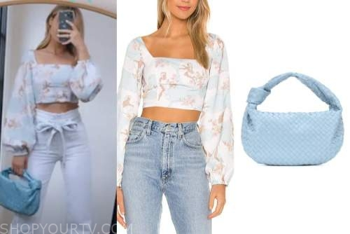 amanda stanton, the bachelor, floral crop top, blue quilted bag
