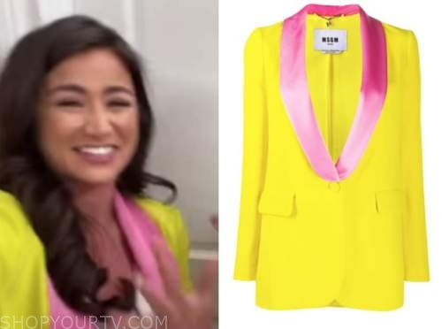 caila quinn, the bachelor, yellow and pink blazer