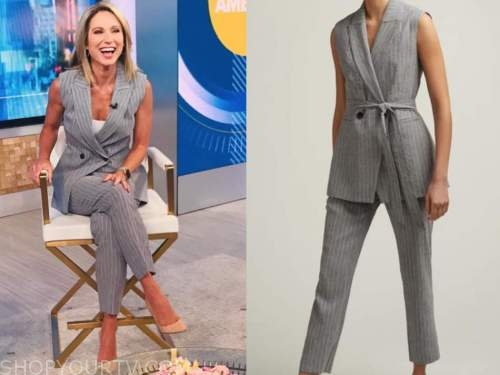 amy robach, good morning america, grey striped vest and pant suit