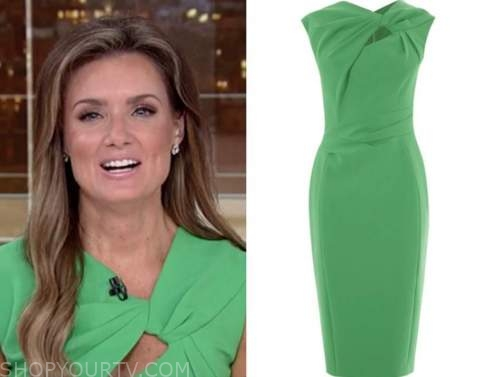 jillian mele, fox and friends, green cutout knot dress