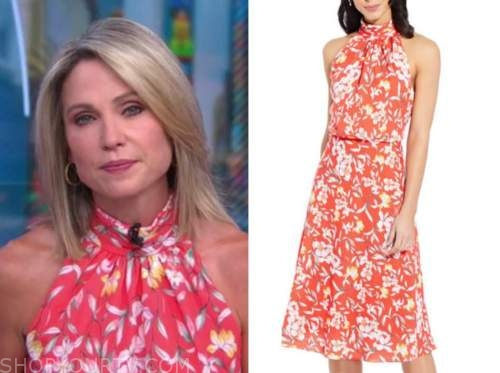amy robach, good morning america, coral floral halter dress