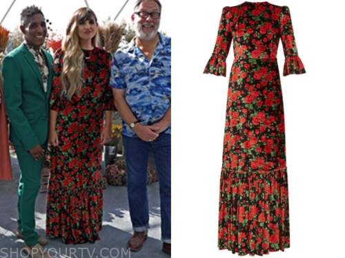 Natasia Demetriou, the big flower fight, netflix, black and red floral dress