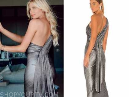 emily ferguson, the bachelor, silver metallic dress