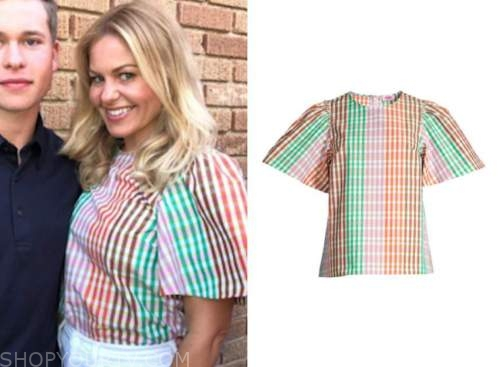 candace cameron bure, multicolor plaid top,