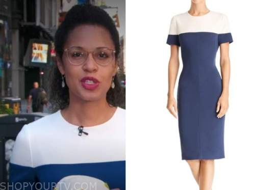 adrienne bankert, blue and white colorblock sheath dress, good morning america