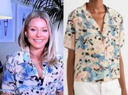 live with kelly and ryan, kelly ripa, printed short sleeve shirt