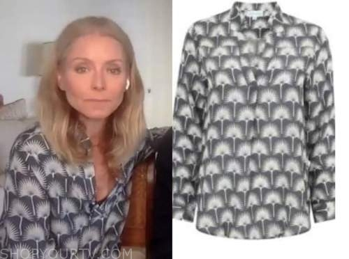 kelly ripa, live with kelly and ryan, grey printed blouse