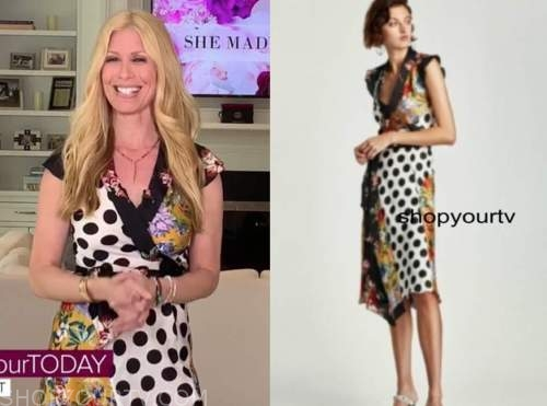 the today show, jill martin, floral polka dot wrap dress