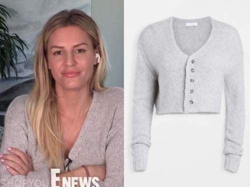 morgan stewart, E! news, grey cardigan sweater
