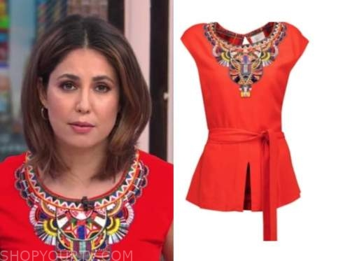 cecilia vega, good morning america, red embellished top