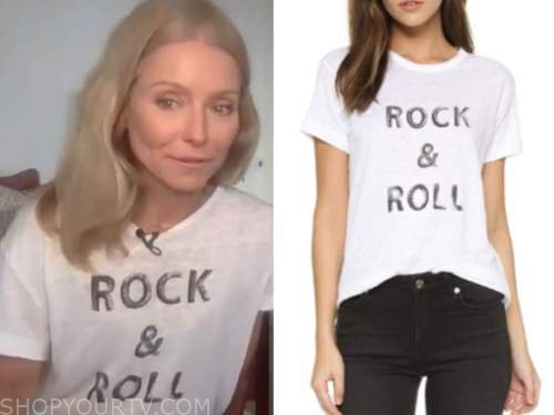 kelly ripa, live with kelly and ryan, white rock and roll tee