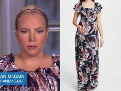 meghan mccain, the view, printed maxi maternity dress