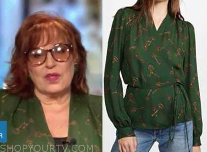 joy behar, the view, green key blouse
