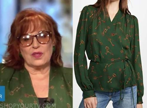 joy behar, the view, green key blouse