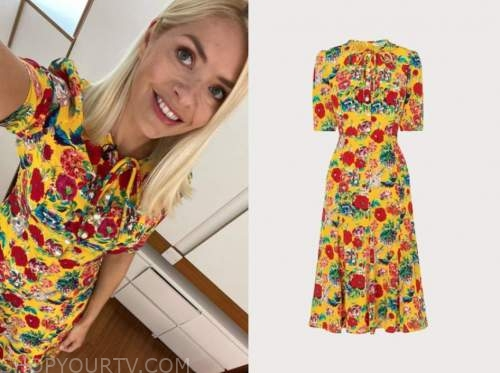 holly willoughby, this morning, yellow and red floral midi dress