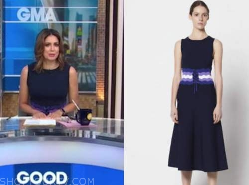 cecilia vega, good morning america, navy blue knit corset dress
