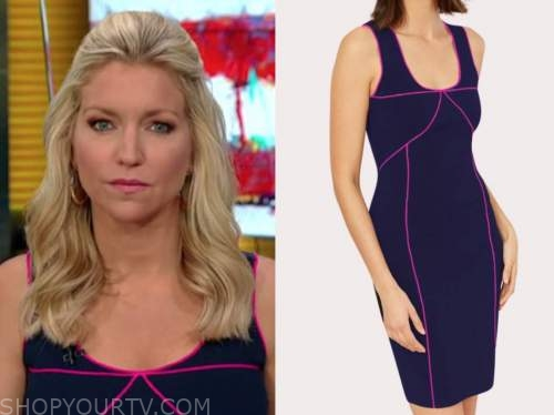 ainsley earhardt, fox and friends, navy blue piped dress