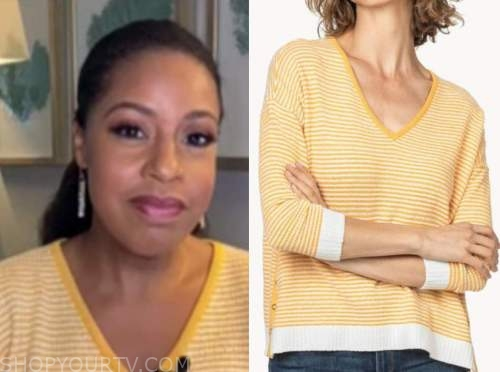 sheinelle jones, the today show, yellow striped sweater