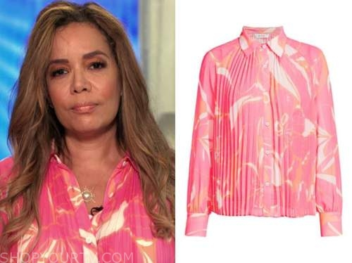 sunny hostin, the view, pink floral blouse