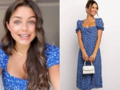 hannah ann sluss, blue floral midi dress, the bachelor